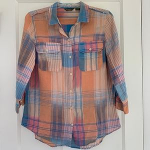 Eddie Bauer Plaid Button Down Shirt Size M